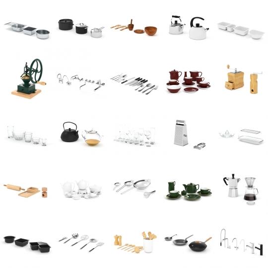chocofur blender 3D model Kitchen Kitchen Details Bundle