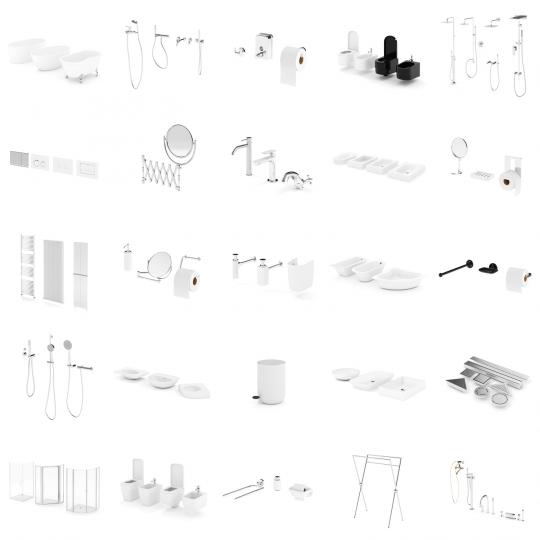 chocofur blender 3D model Bathroom Bathroom Details Bundle