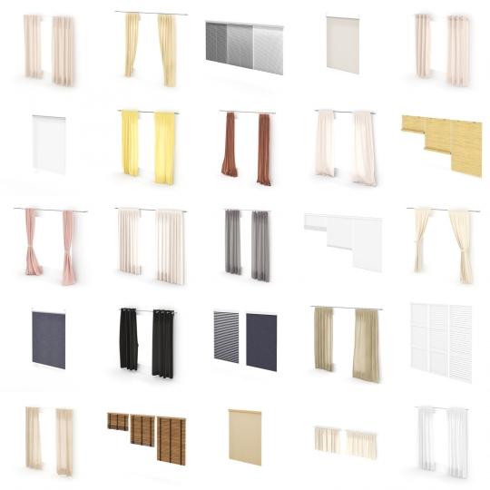 chocofur blender 3D model Curtains Curtain Details Bundle