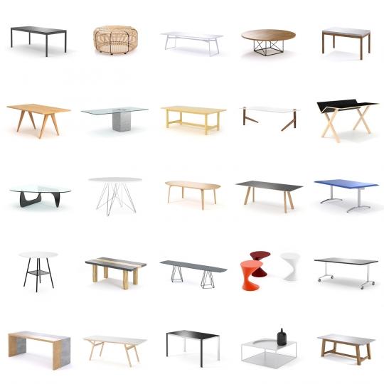 chocofur blender 3D model Tables Tables Bundle