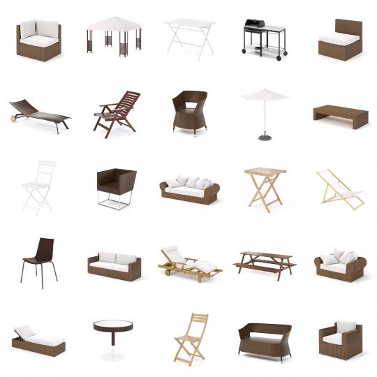 chocofur blender 3D model Outdoor 3D Outdoor Furniture Models for Blender