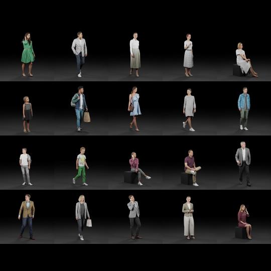 chocofur blender 3D model Vendors Humano Diverse Bundle