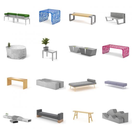 chocofur blender 3D model Benches Benches Bundle