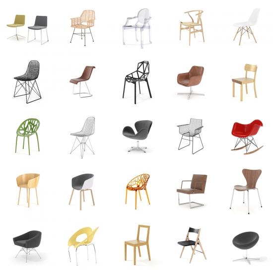 chocofur blender 3D model Chairs Chairs Bundle