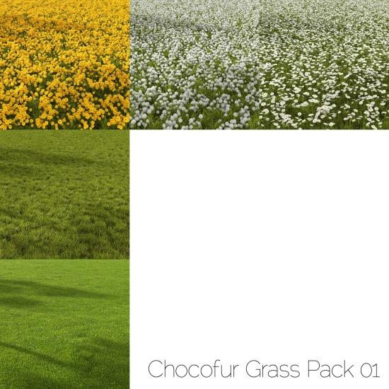 chocofur blender 3D model Environment Grass Pack 01